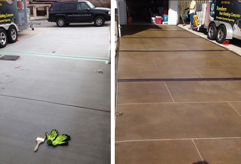 1 pinnacle concrete acid stained driveway before after.